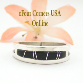 Size 10 1/2 Jet Black Inlay Ring Native American Wilbert Muskett Jr WB-1659 Four Corners USA OnLine Navajo Sterling Silver Jewelry