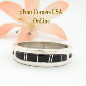 Size 11 1/2 Jet Black Inlay Ring Native American Wilbert Muskett Jr WB-1661 Four Corners USA OnLine Navajo Sterling Silver Jewelry