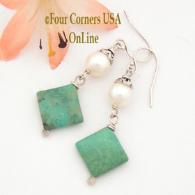 Pearl and Turquoise Sterling Dangle Pierced Earrings Four Corners USA OnLine Jewelry FCE-12089