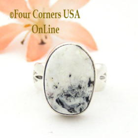 Size 7 White Buffalo Turquoise Ring Navajo Artisan Freddy Charley NAR-1534 Native American Silver Jewelry Four Corners USA OnLine Native American Silver Jewelry