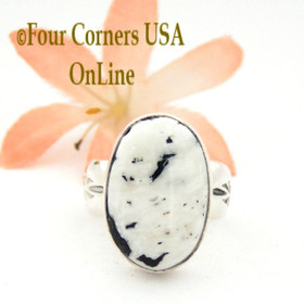 Size 6 1/2 White Buffalo Turquoise Ring Navajo Artisan Freddy Charley NAR-1535 Native American Silver Jewelry Four Corners USA OnLine Jewelry
