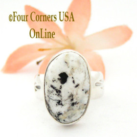 Size 7 White Buffalo Turquoise Ring Navajo Artisan Freddy Charley NAR-1536 Native American Silver Jewelry Four Corners USA OnLine Jewelry