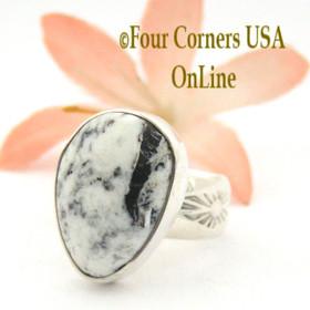 Size 7 1/2 White Buffalo Turquoise Ring Navajo Artisan Calbert Werito NAR-1537 Native American Silver Jewelry Four Corners USA OnLine Jewelry