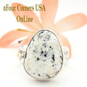 Size 7 1/2 White Buffalo Turquoise Ring Navajo Artisan Calbert Werito NAR-1538 Native American Silver Jewelry Four Corners USA OnLine Jewelry