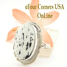 Size 7 3/4 White Turquoise Oval Stone Ring Navajo Kathy Yazzie NAR-1540 Native American Silver Jewelry Four Corners USA OnLine Jewelry