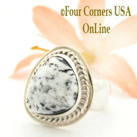Size 7 White Buffalo Turquoise Ring Navajo Artisan Sampson Jake NAR-1541 Native American Silver Jewelry Four Corners USA OnLine Jewelry