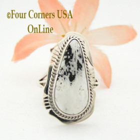 Size 7 White Turquoise Tear Drop Stone Ring Navajo Kathy Yazzie NAR-1543 Native American Silver Jewelry Four Corners USA OnLine Jewelry