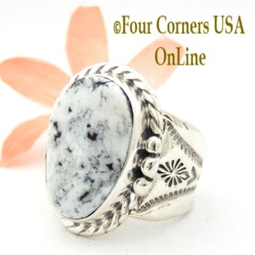 Size 9 1/2 White Buffalo Turquoise Ring Navajo Freddy Charley American Indian Silver Jewelry NAR-1544 Four Corners USA OnLine Jewelry