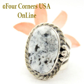 Size 9 White Buffalo Turquoise Ring Navajo Freddy Charley American Indian Silver Jewelry NAR-1545 Four Corners USA OnLine Jewelry