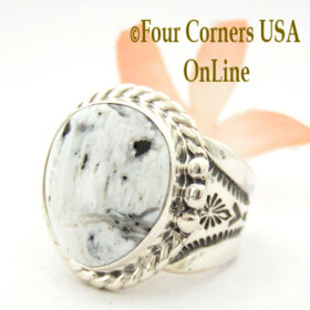 Size 9 White Buffalo Turquoise Ring Navajo Freddy Charley Four Corners USA OnLine Native American Indian Silver Jewelry NAR-1546