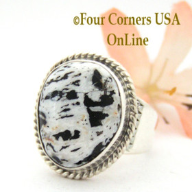 Size 9 White Buffalo Turquoise Ring Navajo Artisan Tony Garcia Four Corners USA OnLine Native American Indian Silver Jewelry NAR-1548