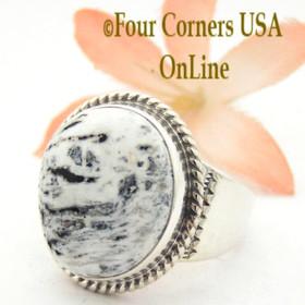 Size 10 White Buffalo Turquoise Ring Navajo Artisan Tony Garcia Four Corners USA OnLine Native American Indian Silver Jewelry NAR-1549
