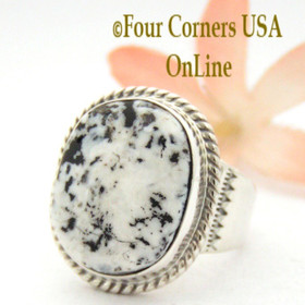 Size 10 White Buffalo Turquoise Ring Navajo Artisan Tony Garcia Four Corners USA OnLine Native American Indian Silver Jewelry NAR-1550