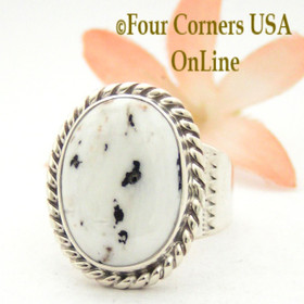 Size 9 White Buffalo Turquoise Ring Navajo Artisan Tony Garcia Four Corners USA OnLine Native American Indian Silver Jewelry NAR-1553