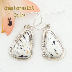 White Buffalo Turquoise Sterling Silver Earrings by Native American Navajo Argke Nelson NAER-1473 Four Corners USA OnLine