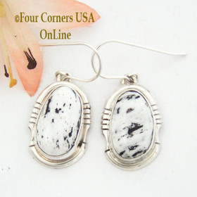 White Buffalo Turquoise Sterling Silver Earrings by Native American Navajo Argke Nelson NAER-1474 Four Corners USA OnLine