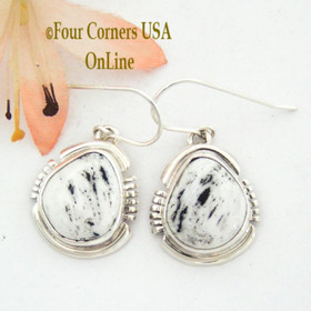 White Buffalo Turquoise Sterling Silver Earrings by Native American Navajo Argke Nelson NAER-1475 Four Corners USA OnLine