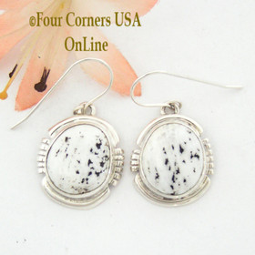 White Buffalo Turquoise Sterling Silver Earrings by Native American Navajo Argke Nelson NAER-1476 Four Corners USA OnLine