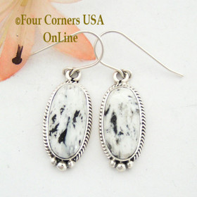 White Buffalo Turquoise Sterling Earrings Native American Navajo Artisan Burt Francisco NAER-1477 Four Corners USA OnLine