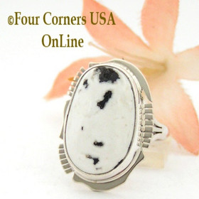 Size 7 White Turquoise Oval Stone Ring Navajo Kathy Yazzie NAR-1554 Four Corners USA OnLine Native American Silver Jewelry