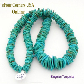 17mm Graduated FreeForm Slice American Kingman Turquoise Beads Designer 16 Inch Strand Four Corners USA OnLine Jewelry Making Supplies GFF38