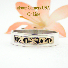 Size 11 1/2 Ring 14K Gold and Sterling Band Native American Scott Skeets Bear Tracks Jewelry NAR-1557 Four Corners USA OnLine Navajo Jewelry