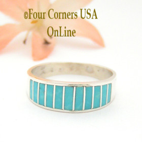Size 10 Turquoise Inlay Wedding Band Ring Ella Cowboy WB-1665 Four Corners USA Online Native American Navajo Jewelry