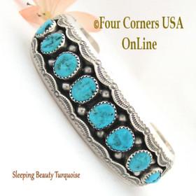 Sleeping Beauty Turquoise Shadow Box Cuff Bracelet Navajo Wilbert Muskett NAC-1433 Four Corners USA OnLine Native American Jewelry