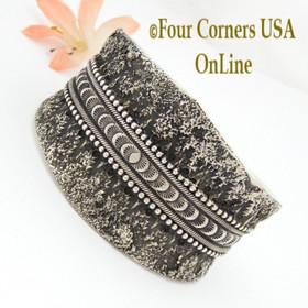 Heavy Princess Silver Cuff Bracelet Navajo Wallace Yazzie Jr Four Corners USA OnLine Native American Jewelry NAC-1437