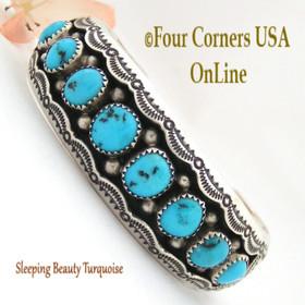 Sleeping Beauty Turquoise Cuff Bracelet Wilbert Muskett Navajo Silver Jewelry NAC-1434 Four Corners USA OnLine