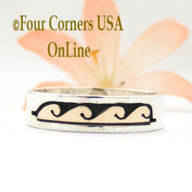 Size 11 1/2 Ring 14K Gold Sterling Silver Wave Water Symbol Native American Wedding Band Style by David Skeets NAR-1567 Four Corners USA Jewelry Online