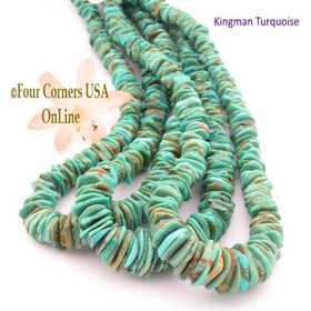12mm Graduated FreeForm Slice Kingman Turquoise Beads Designer 16 Inch Strand Jewelry Making Supplies GFF42 Four Corners USA OnLine