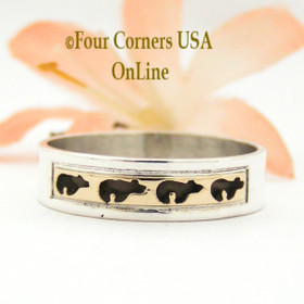 Size 10 Ring 14K Gold and Sterling Bear Wedding Band Style Navajo Scott Skeets NAR-1578 Four Corners USA OnLine