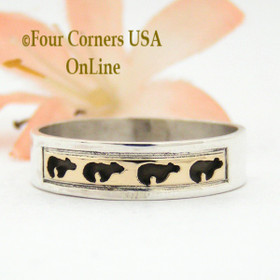 Size 10 3/4 Ring 14K Gold and Sterling Bear Wedding Band Style Navajo Scott Skeets NAR-1579 Four Corners USA OnLine