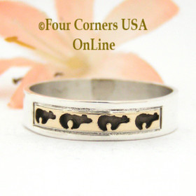 Size 11 1/2 Ring 14K Gold and Sterling Bear Wedding Band Style Navajo Scott Skeets NAR-1581 Four Corners USA OnLine