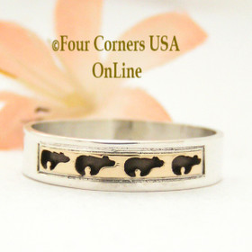 Size 12 Ring 14K Gold and Sterling Bear Wedding Band Style Navajo Scott Skeets NAR-1582 Four Corners USA OnLine