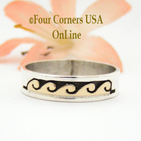 Size 10 1/4 Ring 14K Gold and Silver Wave Water Symbol Wedding Band Style Navajo Scott Skeets NAR-1596 Four Corners USA OnLine