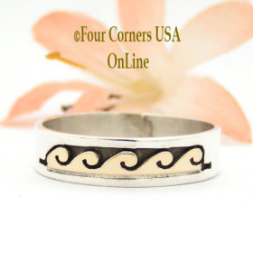 Size 10 3/4 Ring 14K Gold and Silver Wave Water Symbol Wedding Band Style Navajo Scott Skeets NAR-1597 Four Corners USA OnLine