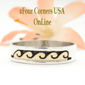 Size 11 1/4 Ring 14K Gold and Silver Wave Water Symbol Wedding Band Style Navajo Scott Skeets NAR-1598 Four Corners USA OnLine
