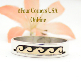 Size 12 1/4 Ring 14K Gold and Silver Wave Water Symbol Wedding Band Style Navajo Scott Skeets NAR-1600 Four Corners USA OnLine