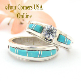 Size 7 1/2 Turquoise Engagement Bridal Wedding Ring Set Native American Wilbert Muskett Jr WS-1558 Four Corners USA OnLine
