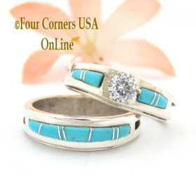Size 8 1/2 Turquoise Engagement Bridal Wedding Ring Set Native American Silver Jewelry WS-1559 Four Corners USA OnLine