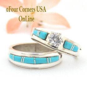 Size 8 Turquoise Engagement Bridal Wedding Ring Set Native American Wilbert Muskett Jr WS-1560 Four Corners USA OnLine