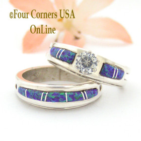 Size 8 Engagement Bridal Wedding Ring Set Purple Fire Opal Native American Silver Jewelry WS-1557 Four Corners USA OnLine