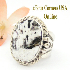 Size 9 3/4 White Buffalo Turquoise Wide Shank Ring Navajo Freddy Charley Four Corners USA OnLine American Indian Silver Jewelry NAR-1606