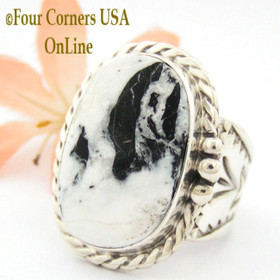 Size 10 3/4 White Buffalo Turquoise Ring Navajo Freddy Charley Four Corners USA OnLine American Indian Silver Jewelry NAR-1608