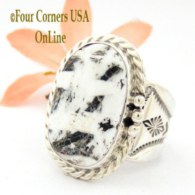 Size 10 3/4 White Buffalo Turquoise Ring Navajo Freddy Charley NAR-1609 Four Corners USA OnLine American Indian Silver Jewelry