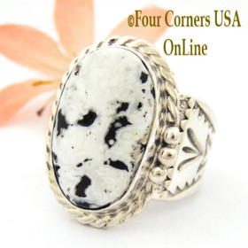 Size 10 3/4 White Buffalo Turquoise Ring Navajo Freddy Charley American Indian Silver Jewelry NAR-1610 Four Corners USA OnLine