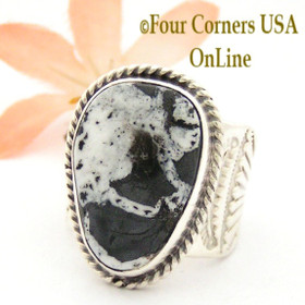 Size 10 White Buffalo Turquoise Ring Navajo Freddy Charley and Tony Garcia Four Corners USA OnLine Native American Indian Silver Jewelry NAR-1611