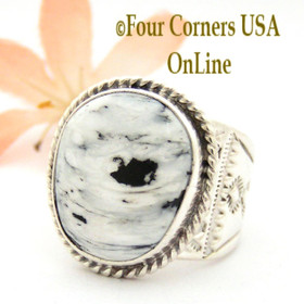 Size 10 White Buffalo Turquoise Ring Navajo Tony Garcia and Freddy Charley American Indian Silver Jewelry NAR-1612 Four Corners USA OnLine